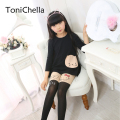 Girl's Kids Splice Thick Baby Devil Cat Elastic Waist Tight Cotton Velvet Stocking Knitted Stitching Pantyhose T0192