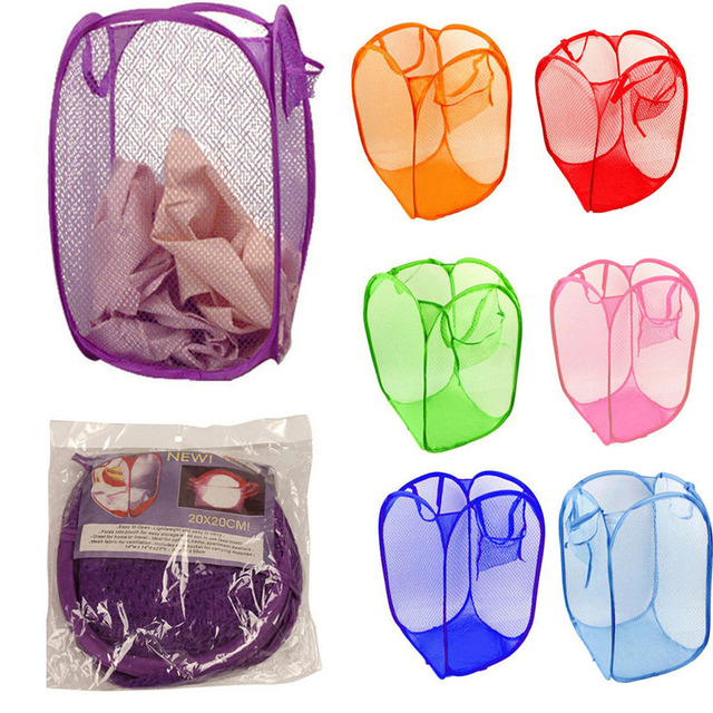 CONEED Storage Organization multi-color New Foldable Pop Up Washing Clothes Laundry Basket Bag Hamper Mesh Storage free shipping
