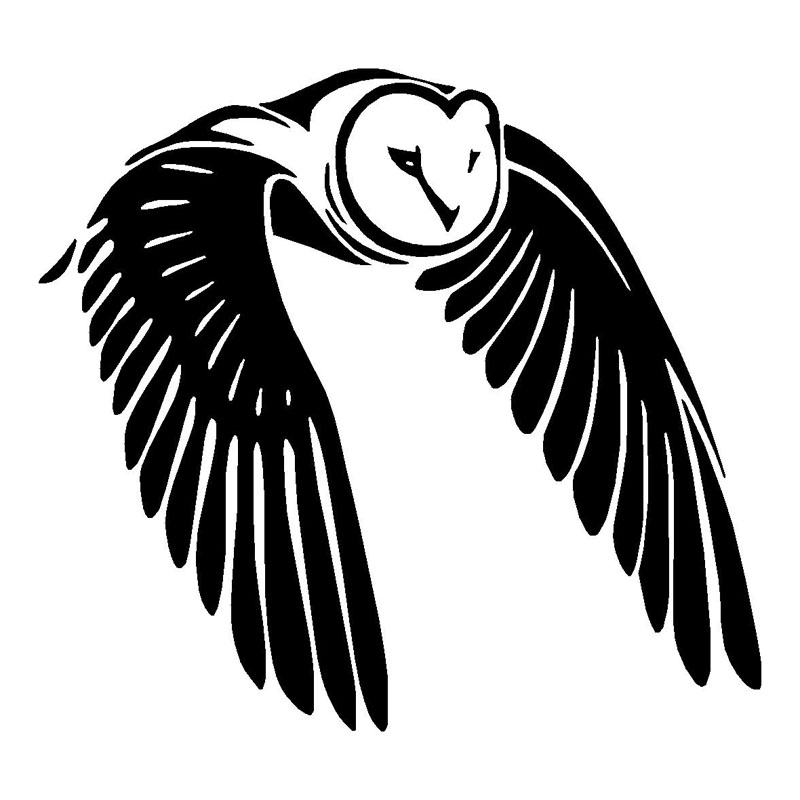 15*13.8CM Flying Owl Bird Car Sticker Car Styling Cute Animal Stickers Car Body Decals Black/Silver C9-1217 hot sale 1pc longhorn hilux 900mm graphic vinyl sticker for toyota hilux decals badges detailing sticker car styling accessories