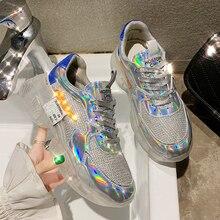 2019 г., модная повседневная обувь на высокой платформе с лазерной шнуровкой прозрачные Серебристые кроссовки на прозрачном каблуке Женская обувь zapatos YH-461