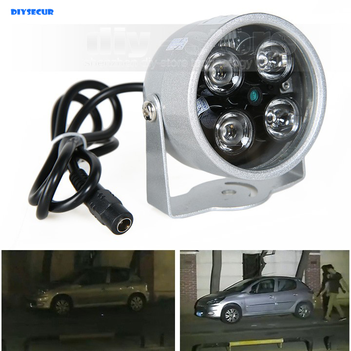 DIYSECUR 4LED Infrared Night vision IR Light illuminator lamp 50M for IP CCTV CCD Camera цена