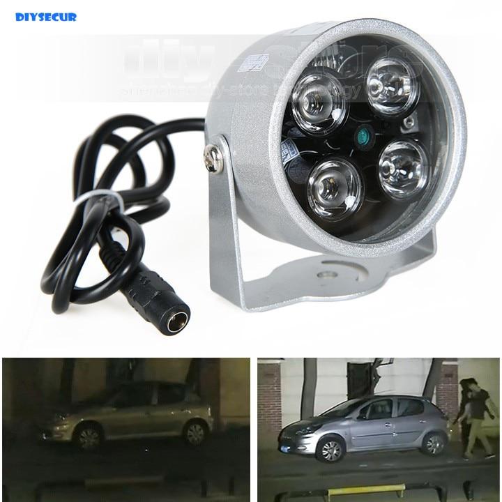 DIYSECUR 4LED Infrared Night vision IR Light illuminator lamp 50M for IP CCTV CCD Camera keyshare dual bulb night vision led light kit for remote control drones
