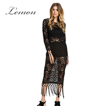Lemon Lace Autumn New Fashion Casual Women Dress Black Tassel Lace High Waist Midi Dress Slim Elegant Party Club Dress