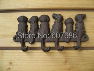 3 Pieces Rustic Cast Iron 6 Dogs Key Rack Wall Mounted, Wall Coat Hooks Key
