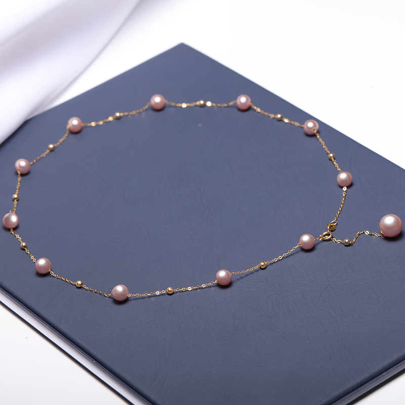 Image 5 - YS Pearl Necklace 18k Pure Gold Au750 Natural Cultured Freshwater Pearl Chain Necklace Women Girl Quality Fine Jewelry-in Necklaces from Jewelry & Accessories