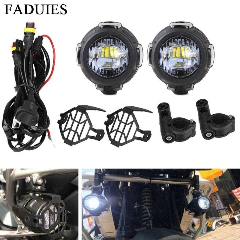 FADUIES 2Pcs set Universal Motorcycle LED Auxiliary Light Car Fog Light Assemblie Driving Lamp For BMW