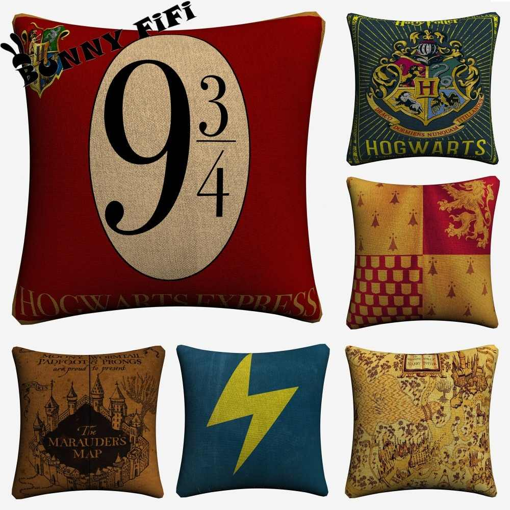 Harry Decorative Cotton Linen Potter Cushion Cover 45x45cm For Sofa Chair Pillowcase Home Decor Almofada