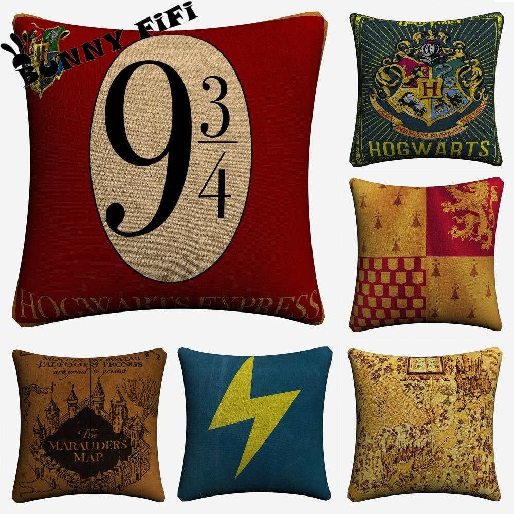 Harry Potter Decorativa Cotton Linen Capa de Almofada 45x45cm Para Cadeira Do Sofá Almofada Fronha Home Decor