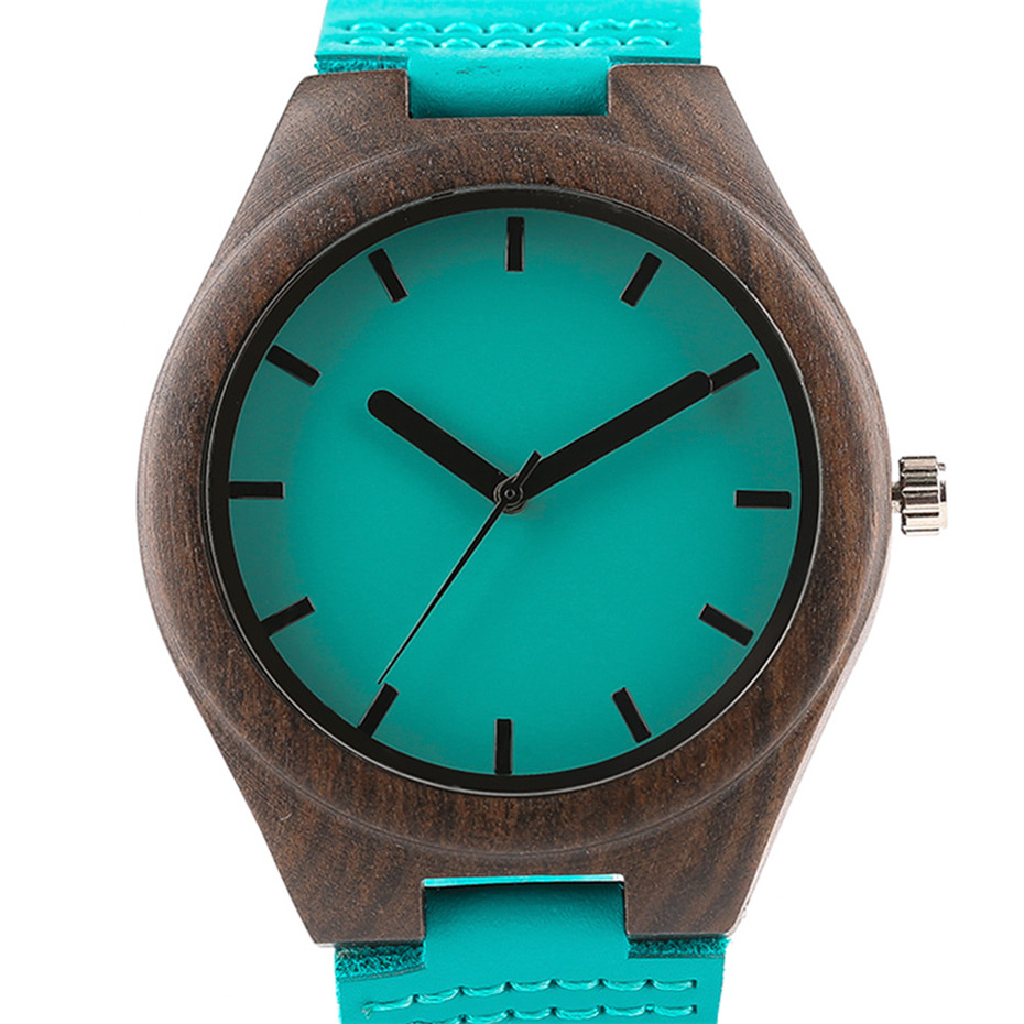 Fashion Blue Wood Quartz Watch Analog Genuine Leather Band Handmade Bamboo Wooden Wristwatch for Men Women Creative Gift Sport Clock (10)
