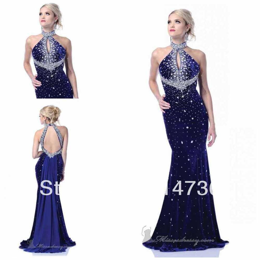 High collar Mermaid Floor length Royal Blue Sexy Prom dresses ...