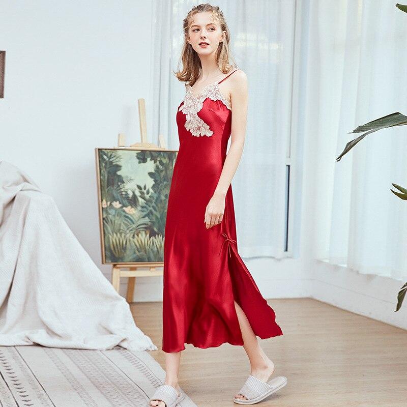 7c5e9b43ca9d2 Летние платье-Пижама Сексуальные Ночная рубашка на бретелях длинные шелковое  вечернее платье чистый цвет чулок v-образный вырез кружева ба.