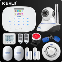 English Russian Touch Keyboard Wireless GSM Home Security Alarm System App Control Wireless Wifi IP Camera