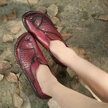 2017 sommer Echtem Leder Frauen Wohnungen Schuhe Weibliche Casual Flache Schuhe Damen Loafers Schuhe Rutscht Weichen Roten Flachen frauen schuhe