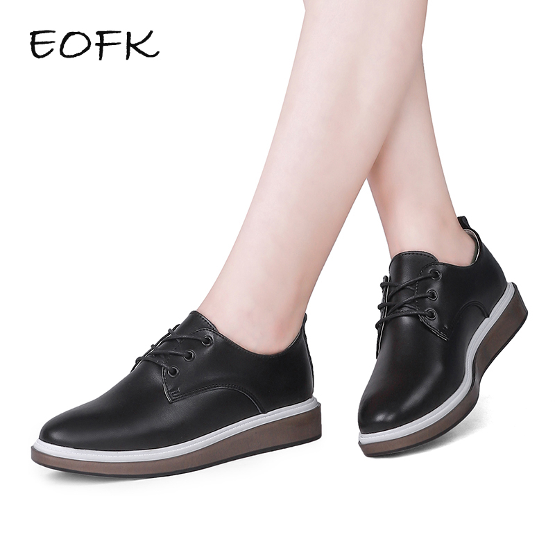 EOFK 2018 Spring Fashion High Quality Women Oxfords Casual Flats Shoes Soft Leather Lace up Female Black Derby Shoes Woman