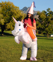 Adults Kids Christmas Mascot Costume Inflatable Pink Unicorn Costume For Kids Cosplay Party Game Fancy Pants Suit