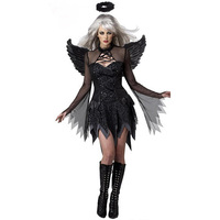 Wholesale Black Disguise Of Fallen Angel Costumes Sexy Adult Halloween Costume Women Fancy Party Mini Dresses