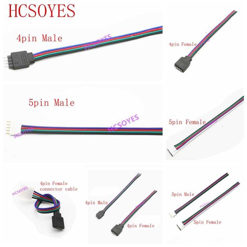 5 sztuk 4pin 5Pin kabel LED męskie złącze żeńskie Adapter drutu dla 5050 3528 SMD RGB RGBW taśmy led LED RGB RGBW kontroler
