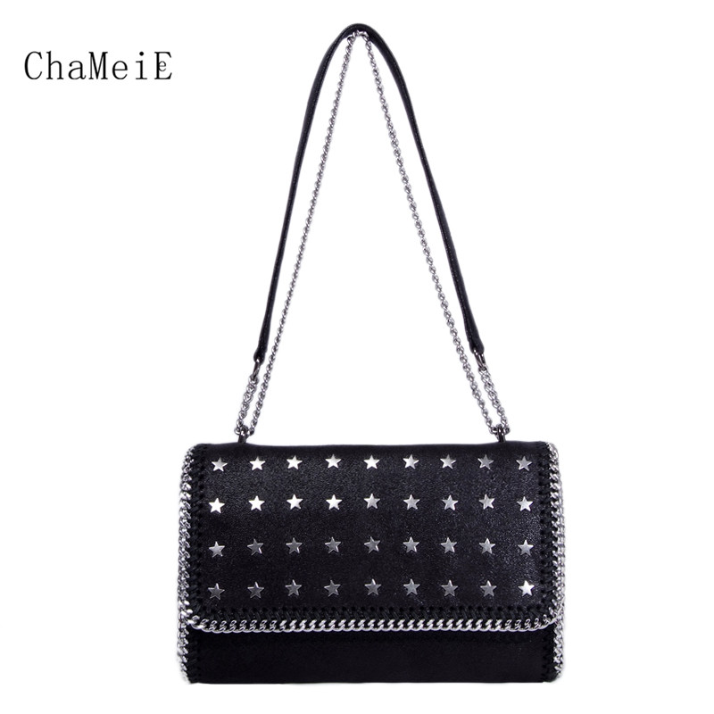 Women Luxury Handbag PVC Star Rivet Crossbody Bag Fashion Chain Messenger Bag Famous Brand Shoulder Bag Fold Over Cover Totes цена
