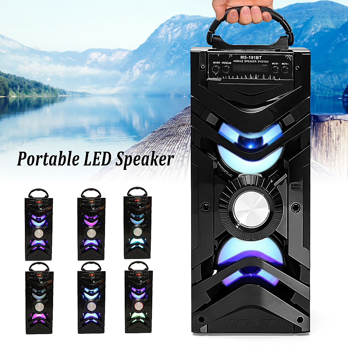 KINCO MS-191BT LED Wireless Bluetooth Speaker 10W Portable Stereo Outdoor Subwoofer Bass Speaker Loudspeaker TF/USB/FM radio/AUX kinco portable outdoor sports 15w wireless bluetooth speaker bass subwoofer 2000mah hifi stereo loundspeaker radio fm tf usb aux