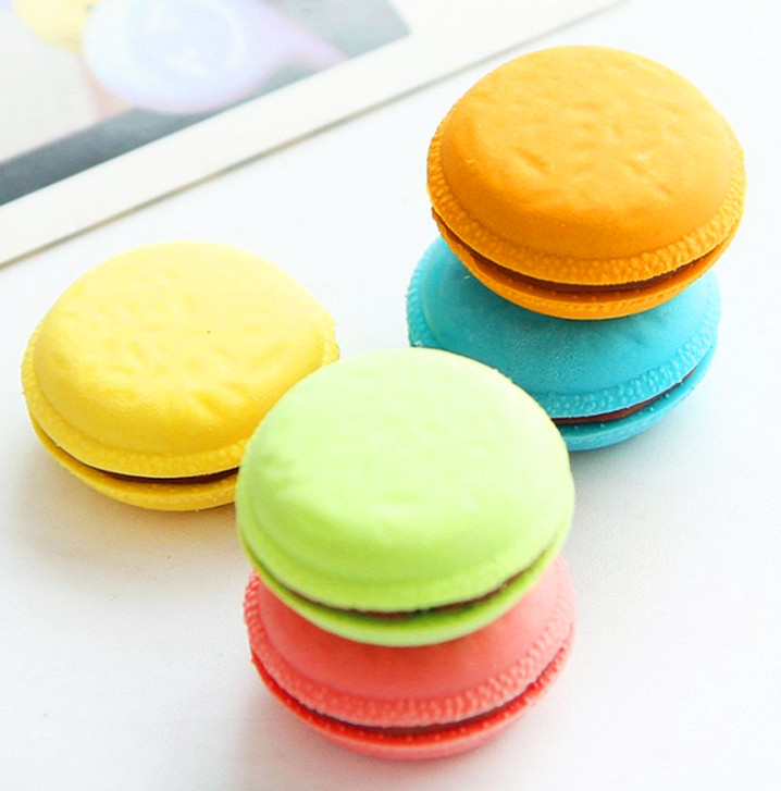 5pcs/lot New Creative Macaron Eraser Colorful Cake Rubber Eraser Novelty Gift for Kids Student Correction Tools Office Supplies ...