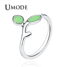 UMODE Fashion Leaf Burgeon Cute Design Rings for Women Green Stone White Gold Jewelry Open Cuff Rings Anillos Mujer Moda AUR0436 a suit of vintage geometric leaf cuff rings