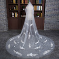 Velos De Novia one-Layer Tulle Cut Edge long Bridal Veils white appliques Cheap Wedding Dress Accessaries Fast Delivery VL011