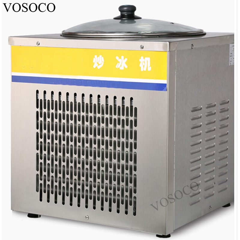 VOSOCO Fried ice cream machine 360W Vice cream roll fry ice pan machine Commercial single pot Stir fried yogurt fruit machine 2017 single pan fried ice cream roll machine economical model square pan fried ice machine fry yoghourt machine