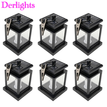 6pcs Led solar light lamp led candle lantern chandelier hanging garden light with clip outdoor patio lighting Wholesale