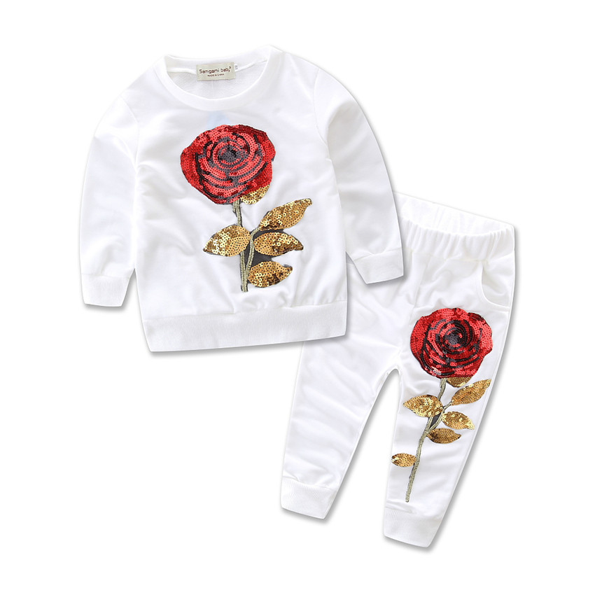 782a11b81 2018 Fashion Girl's clothing sets Spring FLORAL baby girl tracksuits rose  flower long sleeve shirts/sweatshirts+trousers qz6704 -in Clothing Sets  from ...