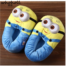 WHOHOLL Winter Home Slipper Women  Despicable Me Minions Indoor Slippers Plush Stuffed Funny Flock Cosplay House Shoes