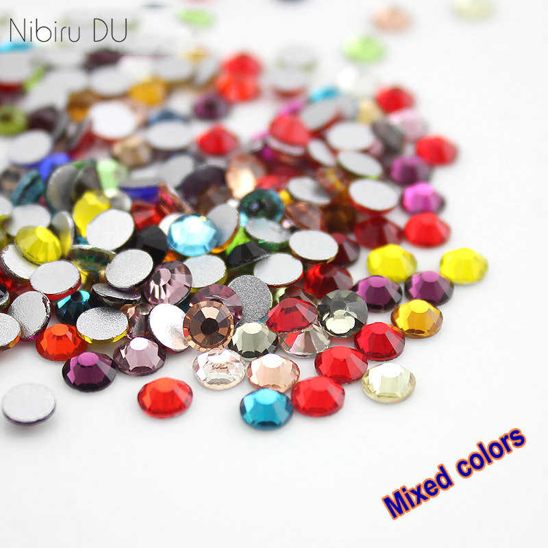 Mix Colors Nail Crystal Rhinestones For 3D Nails Art Decorations Colorful Flat back Glass Rhinestone SS3-SS30