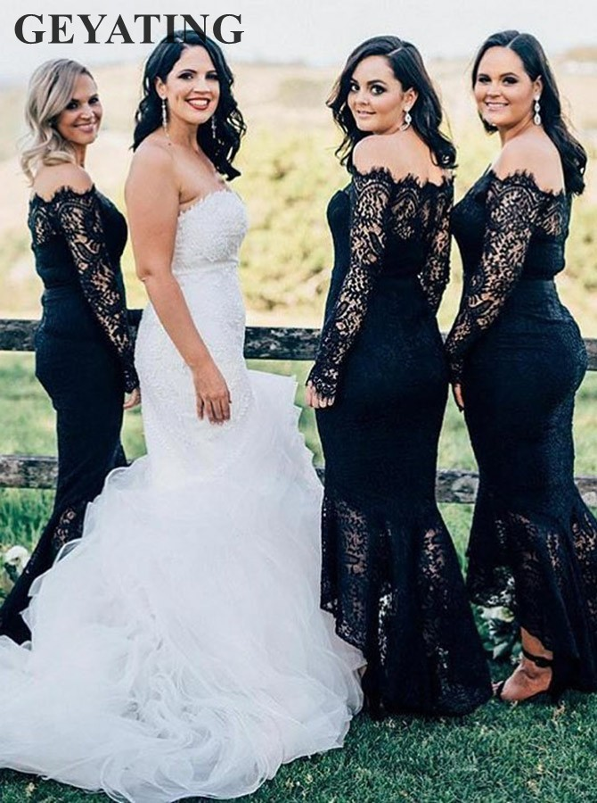 Navy Blue Lace Long Sleeves Mermaid   Bridesmaid     Dresses   2019 Off the Shoulder Tea Length High Low Wedding Party Gowns Guest   Dress