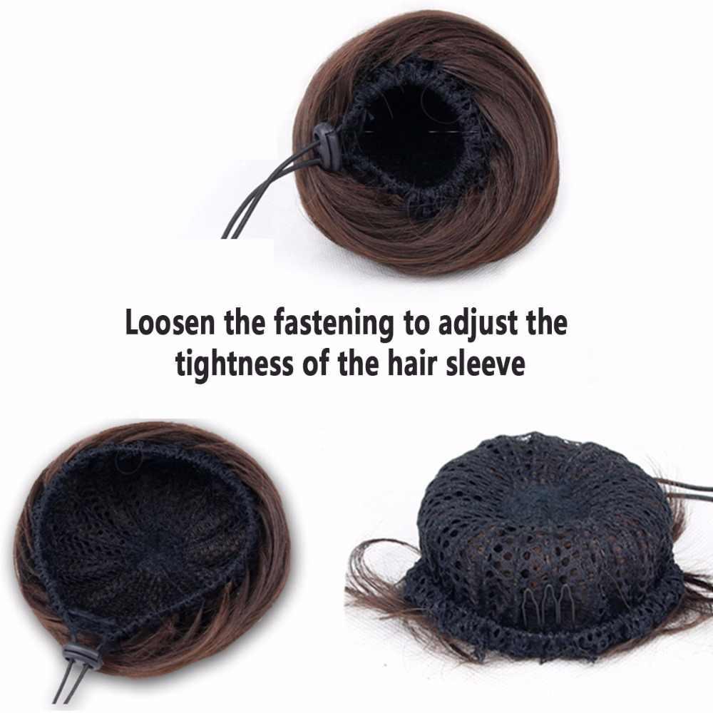 Krótkie syntetyczne do przedłużania włosów Chignon Donut Roller Bun peruka Hairpiece dla kobiet 10 kolorów dostępne AOSIWIG
