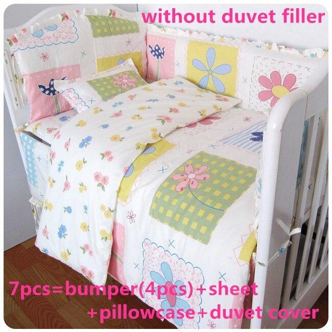 Promotion! 6/7pcs High Quality Flower Baby Bedding Set Cot Set 100% Cotton ,Duvet Cover,120*60/120*70cm