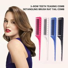 comb for hair 3-Row Teeth Teasing Comb Detangling Brush Rat Tail Comb Adding Volume Back Coming Hairdressing Combs hairbrush