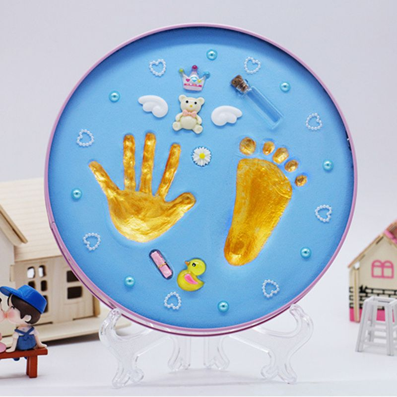 1 Set Ink Pad DIY Footprint Children Storage Box Case Handprint Baby Newborn Souvenir