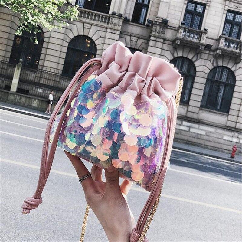 Meloke 2019 new women bling mini bucket bags sequins summer cross body  chain bags casual Drawstring e64bafb00cb6