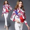 2017 novas Mulheres primavera blusa Plus Size Blusas de luxo Camisas curtas Senhoras Escritório Desgaste Do Trabalho tarja Irregular Soltas camisas Das Mulheres