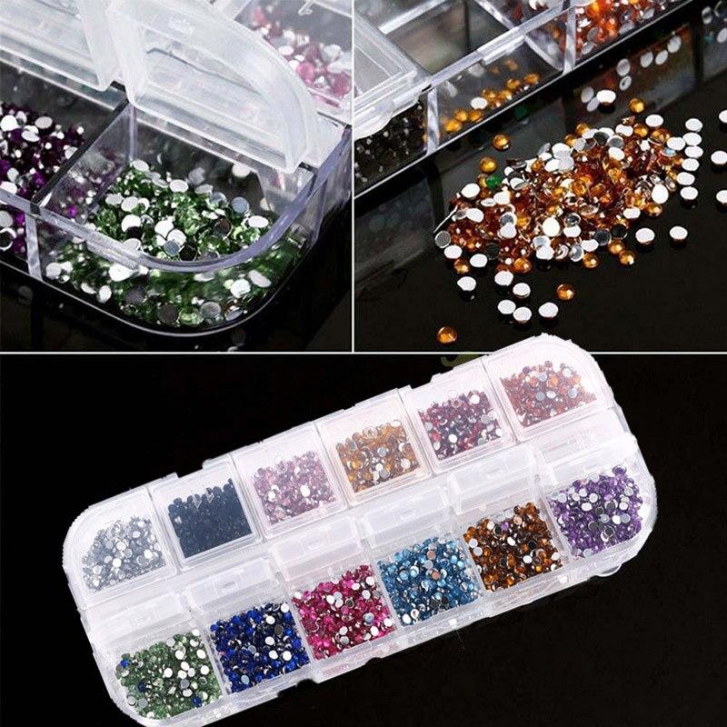 2400pcs / Box 3D Pietricele Flatback Postituri (2mm) 12 culori - Manichiură