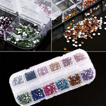 2400pcs / Box 3D Flatback Rhinestones Stickers (2mm) 12 Colors Rhinestones, Nail Art Rhinestones for Nails, Glue Fixed Rhinestone