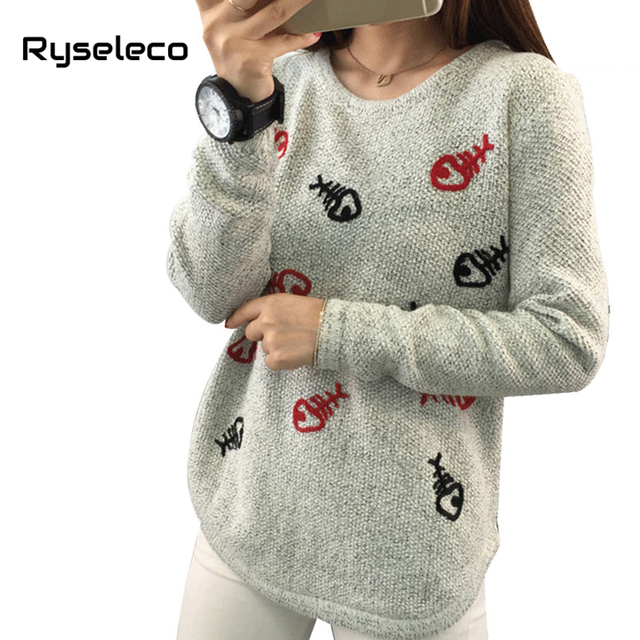 e96f8f202540 Autumn Winter Women Casual Long Sleeve Pullovers Cherry Stars Letter Lips  Christmas Plus size Sweaters Cheap