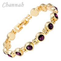 2014 Ladies 18K Gold Coating Purple Crystal Magnetic Bracelet Supreme Quality Bio Health Healing Romantic Female