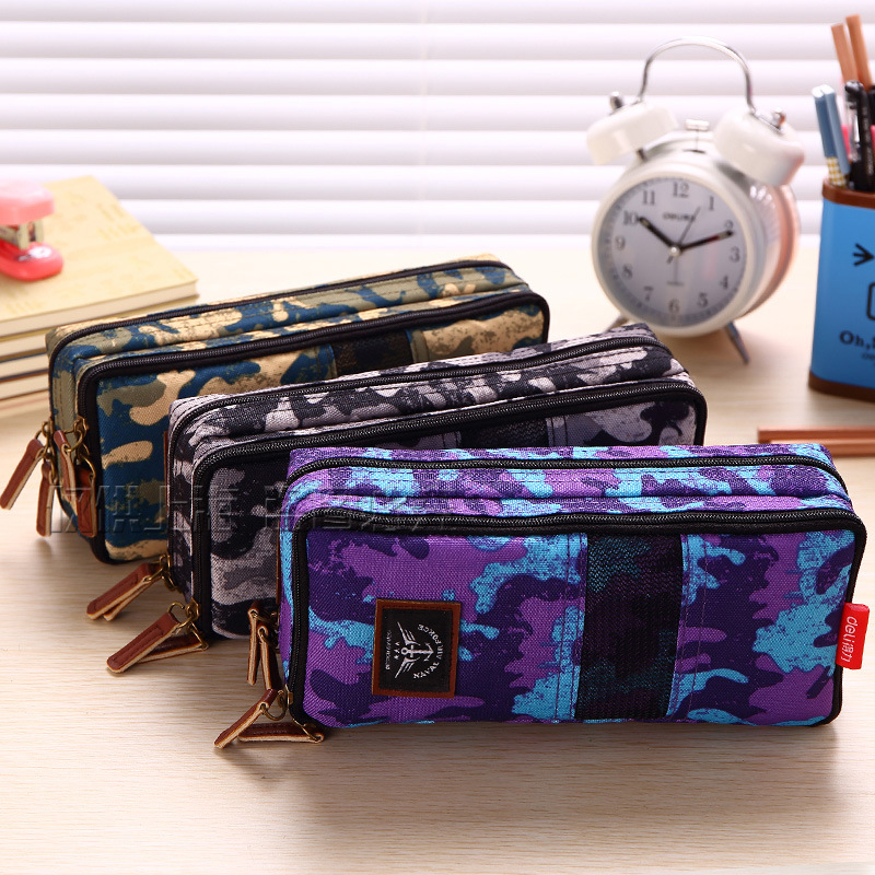 Camouflage big capacity canvas military  school pencil case  pen bag stationery pencil bags  school supplies  boys color random high quality canvas large capacity solid color school multifunctional boys pencil case pen holder bag stationery penalty 04921