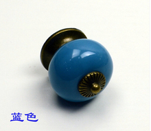 10pcs/lot Ceramic knob for Kids/ Children, Kitchen Blue Ceramic Door Cabinets Cupboard knob and handles Dia 34mm