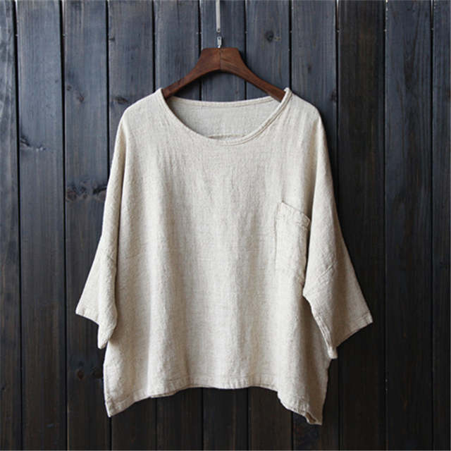 356ce5acd4067 Plus size White Linen Women Blouses Shirt Solid O-neck Loose Casual Summer  Shirts Blouse