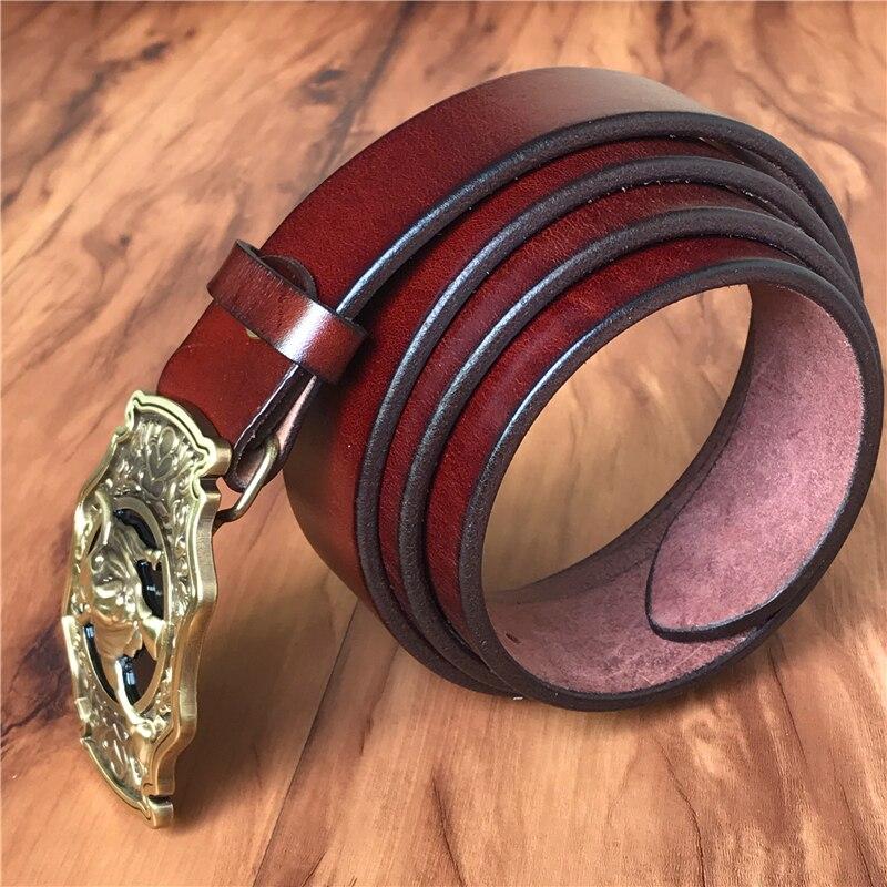 Cinturón de vaquero de toro de latón hebilla de cinturón de hombre cinturón de cuero genuino grueso hombres Ceinture Homme Cinturon Jeans correa de cintura MBT0524 - 6