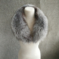 silver fox Winter Women's Real Fox Fur Scarf Fox Fur Cap Fur Collar Scarves 80cm Straight Collar Soft Fur Scarf Neck Warmer
