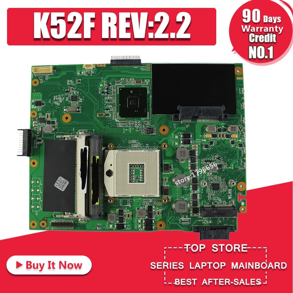 K52F Motherboard REV:2.2 HM55 DDR3 For ASUS K52 X52F A52F P52F  Laptop Motherboard K52F Mainboard K52F Motherboard Test 100% OK
