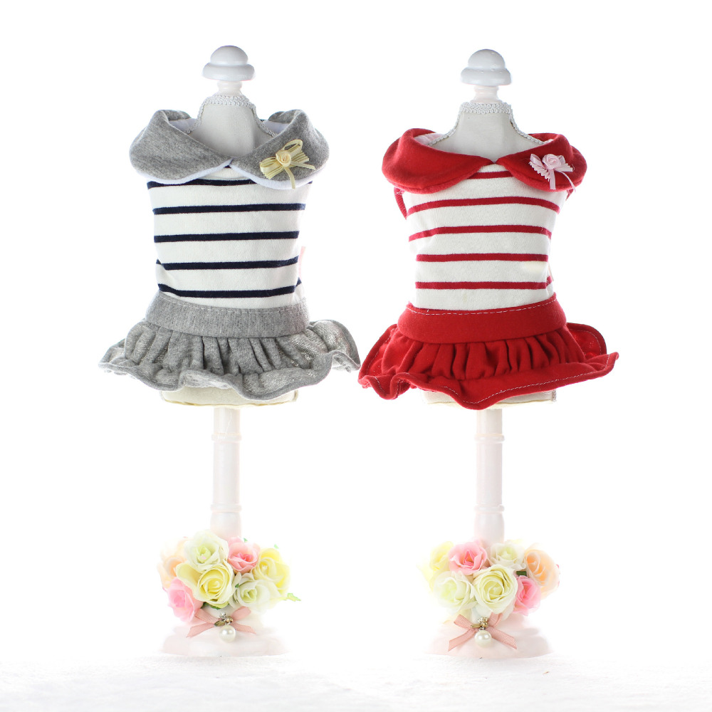 Striped Sailor suit Dog Dress Thick Coats Jackets Clothing For Dogs Puppy Dog Cat Pet Clothes Apparel Yorkie Maltese Chiwawa