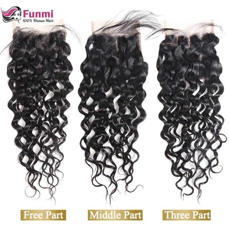 Funmi Hair Brazilian Virgin Hair Water Wave Closure 4x4 Lace Closure With Baby Hair 100% Human Hair Weave Bundles Natural Color